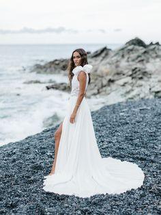 wedding dress, bridal, gowns, bridal Wedding Gowns, Our Wedding, Bridal Gowns, Rime Arodaky, Boho Gown, Bridal Jumpsuit, Crepe Skirts, Gorgeous Wedding Dress, Bride Look