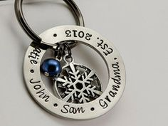 Womens Personalized Stamped Key Chain w/ Pearl