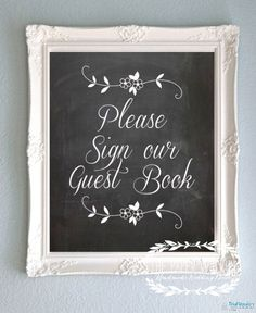 Chalkboard Wedding Sign Print - Guest Book / PhotoBooth / Gift Table - READY TO SHIP on Etsy, $13.99