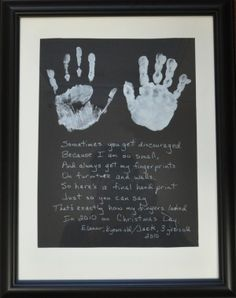 Cute Mother's Day gift, his hands as a kid & a picture of mom n son ...