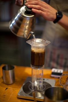 "Love my aeropress-- makes a single, perfect cup of coffee.  We use it ""upside down"" like this.  About $25."