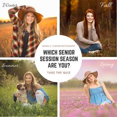 Which season should you choose for your senior portrait session? Take the quiz to find out! Senior Photography, Photography Tips, Senior Session, Senior Portraits, Senior Pictures, How To Find Out, Photoshoot, Seasons, Education