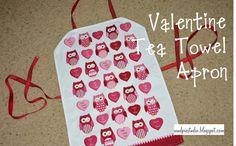 Tea towel-turned-apron for Valentines.  #owls #kids #holiday #diy #craft
