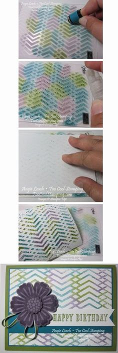 By Angie Leach. Sponge 3 or 4 colors of dye ink on either the embossing or debossing side of an embossing folder. Spritz with water until ink beads up. Lay watercolor paper on inked folder. Burnish with fingers. Lift paper straight up off folder. Let dry. Rinse folder with water to remove ink.