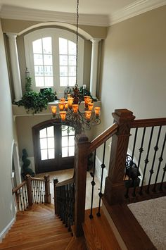 Foyer with columned high window