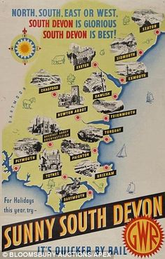 Sunny South Devon - GWR English Riviera Vintage railway poster www.it/en : natural olive skin care . Posters Uk, Train Posters, Railway Posters, Retro Posters, British Beaches, British Seaside, British Isles, Vintage Maps, Vintage Travel Posters
