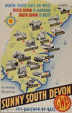 Sunny South Devon - GWR English Riviera Vintage railway poster www.it/en : natural olive skin care . British Beaches, British Seaside, British Isles, Train Posters, Railway Posters, Devon England, Oxford England, Cornwall England, Yorkshire England
