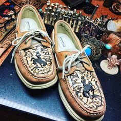 Tooled leather embellished shoes by Tamra