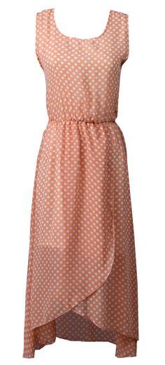 Apricot Sleeveless Polka Dot Chiffon Dress US$21.94