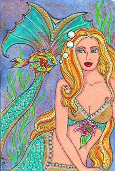 Pretty Blonde Mermaid Fantasy Fish Friend Stargazer Lily Flower 6x4 ART PRINT of original painting by K.McCants via Etsy