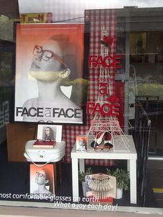 Face a face eyewear display in Melbourne, Australia by Through the looking glass retail window stylist.