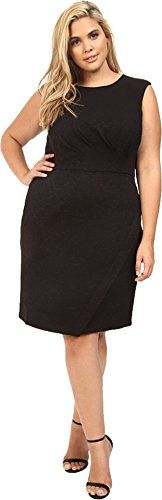 London Times Womens Plus Size Swirl Texture Side Pleat Sheath Black Dress 14W >>> Want to know more, click on the image.