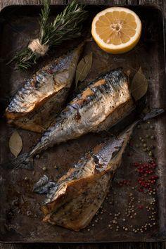 Grilled mackerel with herbs by Dima Belokoni on @creativemarket