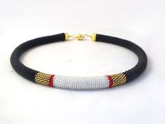 Beads crochet rope necklace a black whit gold and silver section ,beaded necklace ,geometric, beadwork ,plus size  This is the perfect accessory