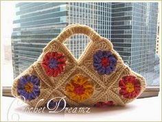 Floral Granny Square Crochet Purse