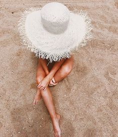 Sunny day tan sandy sand white straw hat summer vibes photography wanderlust tan lines neutrals neutral