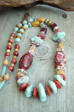Boho Chunky Gemstone Necklace, Southwest Jewelry, Turquoise Necklace, Bohemian Jewelry