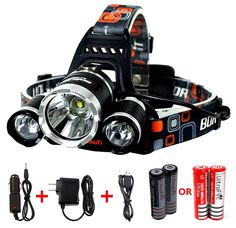 Benran Waterproof LED Headlamp Headlight Rechargeable Head Flashlight Lamp with 3 Xm-l T6 4 Modes Outdoor Sports Hiking Camping Riding Fishing Hunting (Super bright) *** To view further for this item, visit the image link.