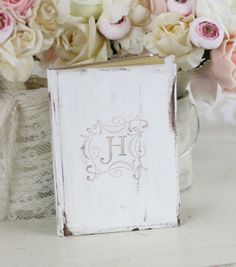 Bridal Shower Guest Book Shabby Chic Decor by braggingbags on Etsy, $32.50