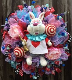 Alice In Wonderland Wreath, White Rabbit Wreath, Alice In Wonderland Party, A Royal Occassion