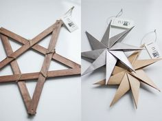 Wooden and paper stars as Christmas ornaments