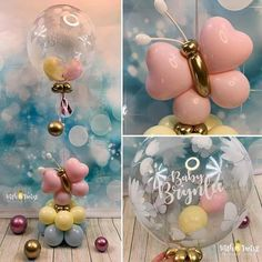 Beautiful decoration idea for a baby shower. Birthday Balloon Decorations, Birthday Balloons, Baby Shower Decorations, Birthday Parties, Balloon Arrangements, Balloon Centerpieces, Balloon Flowers, Balloon Bouquet, Butterfly Baby Shower