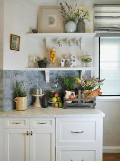 Images of Beautifully-Organized Open Kitchen Shelving | DIY Kitchen Design Ideas - Kitchen Cabinets, Islands, Backsplashes | DIY