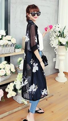 Spring Summer Black Floral Long Chiffon Cardigan. Beach Cover Up | GlamUp - Clothing on ArtFire