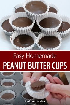 homemade Reese's peanut butter cup recipe is better than store bought. They are so yummy and incredibly easy to make!This homemade Reese's peanut butter cup recipe is better than store bought. They are so yummy and incredibly easy to make! Reeses Peanut Butter Cup Recipe, Homemade Peanut Butter Cups, Peanut Butter Candy, Chocolate Peanut Butter Cups, Peanut Butter Recipes, Chocolate Peanuts, Chocolate Recipes, Reeses Candy Recipe, Homemade Reeses Cups