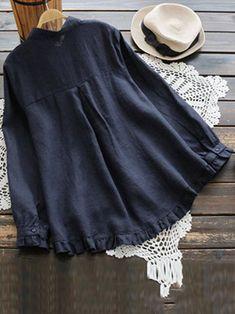 Plus Size Elegant Long Sleeve Ruffles Hem Cotton Blouse for Women Plus Size Elegant Long Sleeve Ruffles Hem Cotton Blouse for Women BazaCenters. Blouse Neck Designs, Blouse Styles, Blouse En Coton, Casual Hijab Outfit, Mode Plus, Kurti Designs Party Wear, Muslim Fashion, Cotton Blouses, Stylish Dresses