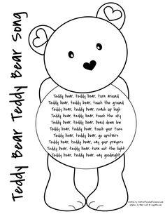 Preschool Teddy Bear Activities Teddy Bear, Teddy Bear Song - Page 001 Bears Preschool, Preschool Music, Preschool Learning, Preschool Activities, Picnic Activities, Letter T Activities, Nursery Rhymes Preschool, Kindergarten Songs, Rainbow Activities