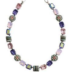 "Mariana Silver Plated Rectangular Flower Swarovski Crystal Necklace, 16"" Iris 3099 1327. Available at www.regencies.com"