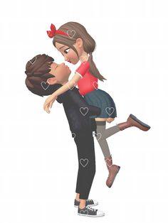 Cute Couple Cartoon, Cute Couple Art, Cute Couples, Barbie Wedding Dress, Emoji Images, Persian Quotes, Cute Notebooks, Diy Box, Cartoon Characters