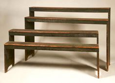 "ADA Online Show 6/9/16.   Description:  Country Store Two-Part Nesting Shelves.  This uniquely constructed set of shelves was formerly a prop used by Pat Guthman at many shows. An ideal display unit for collections of baskets, pottery, etc. Medium: Pine retaining the original green painted finish. Dovetailed construction.  Dealer:	Olde Hope Antiques, Inc.  Date:	Mid to late 19th c.     Measurements:	W 72"", OAH 48"", Depth when extended 34"". Price:	$8,500."