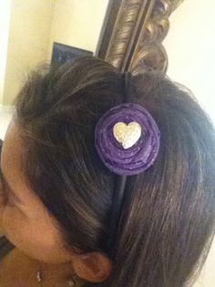 Purple Rosette with gold heart