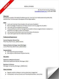 pharmacy technician objective resume samples cpht pinterest