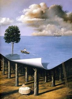 This is by the Polish-American artist Rafal Olbinski . I see some influence from Rene Magritte! Modern Surrealism, Surrealism Painting, Painting Art, Magritte, Mago Tattoo, Art Visionnaire, Street Art, Surreal Artwork, Arte Obscura