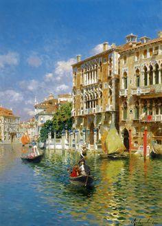 """Rubens Santoro (Italian, 1859-1942) """"Gondoliers in front of the Palazzo Cavalli-Franchetti, Venice""""."""