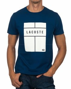 Lacoste T Shirt - Blue & White Lacoste T Shirt, Lacoste Men, Lacoste Sport, Work Shirts, Tee Shirts, Design Kaos, Camisa Polo, Tee Shirt Designs, Online Shopping Clothes