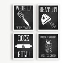 8x10 Chalkboard Kitchen Wall Art Set of 4 by MayFrenzyDesigns, $58.00
