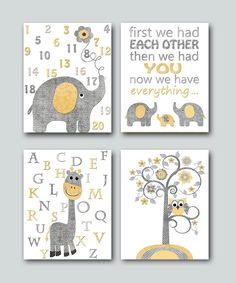 Neutral Nursery Canvas Art Elephant Nursery Quotes Art Baby