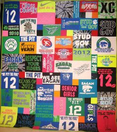 Custom Made t-shirt Quilt. $ 100.00, via Etsy. I love the different sizes so more shirts can be utilized.