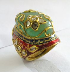 Mughal style Real Polki Diamond Red Blue Enamel Handmade Artistic Flower Ring in 22K Gold For Wedding / Engagement