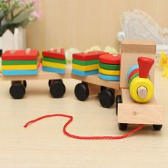 Educational Kid Baby Wooden Solid Wood Stacking Train Toddler Block Toy Gift