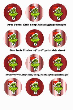"""Free Printable Collage Sheets: Free Christmas Grinch Bottle Cap - 1"""" Circle Collage Sheets from Etsy shop Fantasygraphicimages"""