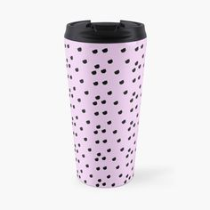 """Jennifer Abstract Black & Lilac Polka Dot"" Travel Mug by camilaheart Polka Dot Art, Polka Dots, Baby Prints, Fun Prints, Polka Dot Leggings, Cool Shower Curtains, Birthday Gift For Wife, Abstract Animals, Feminist Art"