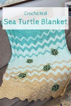 Crocheted Sea Turtle Blanket - Domestic Deadline Using a ripple afgan and a Crochet Blanket Patterns, Knitting Patterns, Crochet Afghans, Craft Patterns, Adele, Crab Stitch, Crochet Turtle, Yarn Tail, Yarn Crafts