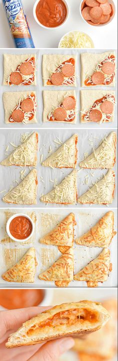 Homemade Easy Cheesy Pizza Pockets These easy cheesy homemade pizza pockets are SO EASY and they taste amazing! - These easy cheesy homemade pizza pockets Think Food, I Love Food, Good Food, Yummy Food, Appetizer Recipes, Snack Recipes, Cooking Recipes, Healthy Recipes, Pizza Recipes