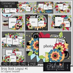Brag Book Layered Templates Pack No 4 PSD TIFF Digital Scrapbooking PNG Commercial Use CU Photoshop 5x7 PAGE