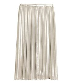 Check this out! Knee-length skirt in soft, airy fabric with a shimmering finish. The skirt is pleated and has a concealed zip at the side. Unlined. - Visit hm.com to see more.